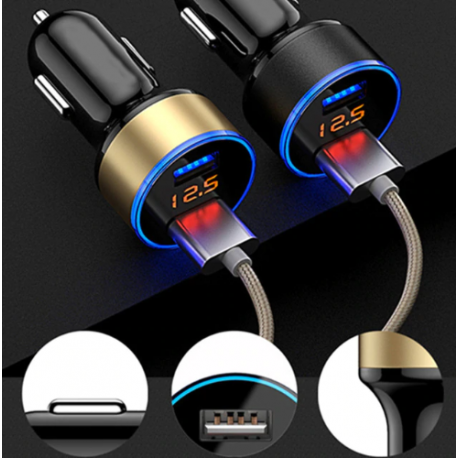 Chargeur double USB allume cigare affichage LED ID 449