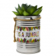 "Plante artificielle pot déco exotique ""life is jungle"" ID 685"