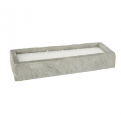 Bougie socle béton, rectangle, parfum citronnelle ID 825